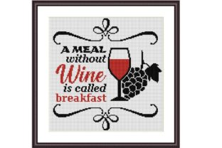 Print on Demand: A Meal Without Wine Cross Stitch Pattern Graphic Cross Stitch Patterns By Tango Stitch