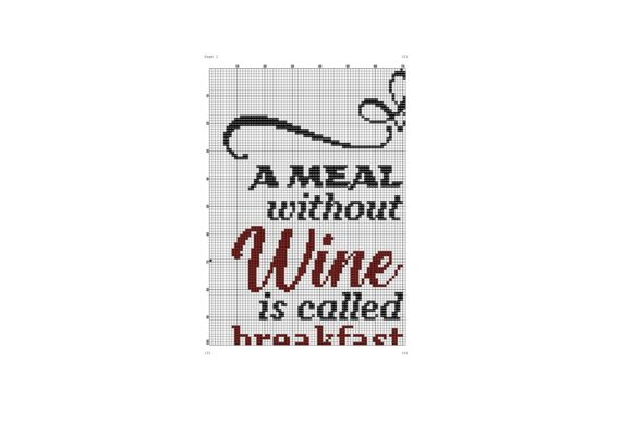 A Meal Without Wine Cross Stitch Pattern Graphic Cross Stitch Patterns By e6702 - Image 2