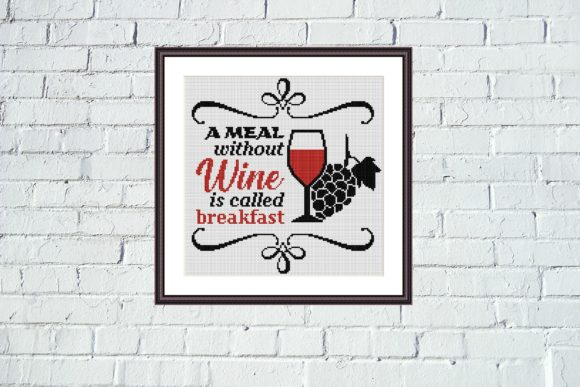 A Meal Without Wine Cross Stitch Pattern Graphic Cross Stitch Patterns By e6702 - Image 4