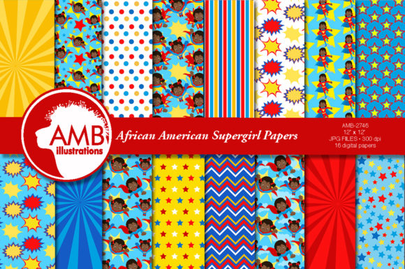 African American Supergirls Papers 2746 Graphic Patterns By AMBillustrations