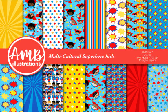 African American Superhero Boys 2747 Graphic Patterns By AMBillustrations