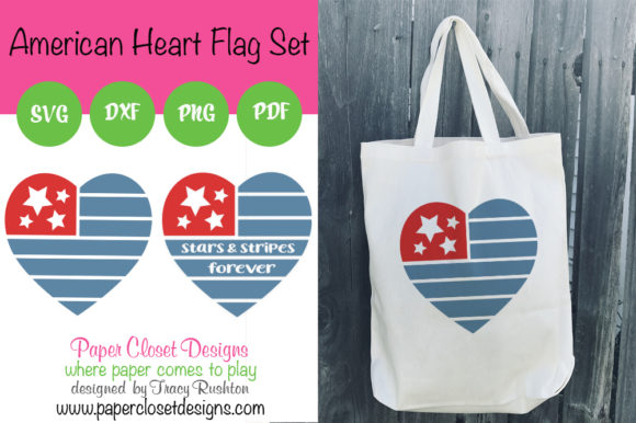 Print on Demand: American Heart Flag Graphic Crafts By rushton_tracy
