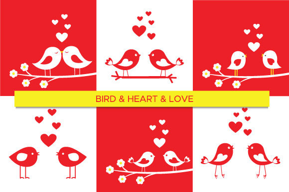 Birds in Love Silhouettes Set 2 Graphic Illustrations By MartaMarta