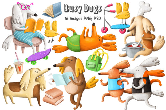Print on Demand: Busy Dogs Graphic Illustrations By Architekt_AT