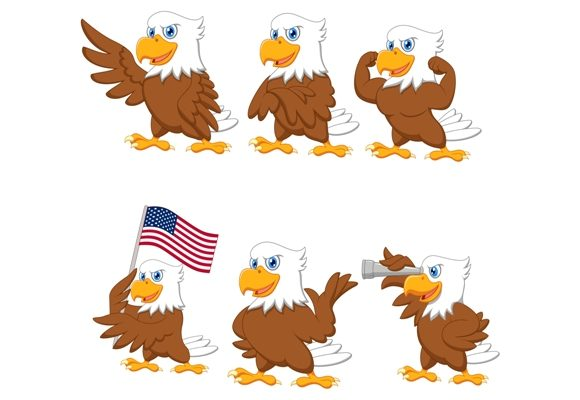 Download Free Cartoon Vector Eagles Character Set Graphic By Tigatelusiji for Cricut Explore, Silhouette and other cutting machines.