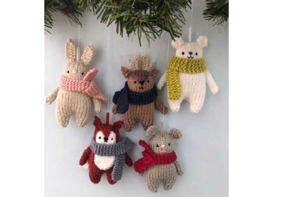 Christmas Animals Knit Ornament Pattern Graphic Knitting Patterns By Amy Gaines Amigurumi Patterns - Image 1