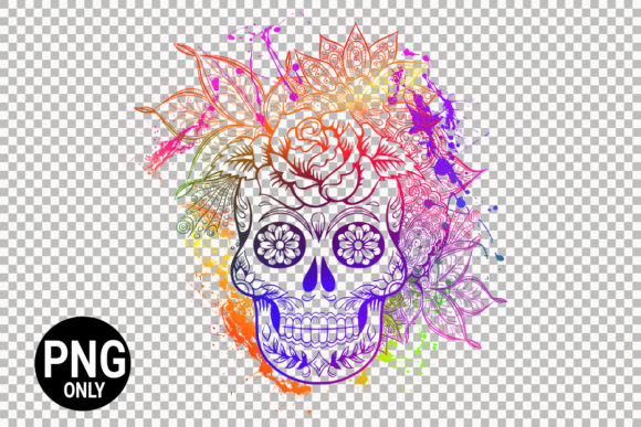Download Free Colorful Sugar Skull Graphic By 99 Siam Vector Creative Fabrica for Cricut Explore, Silhouette and other cutting machines.