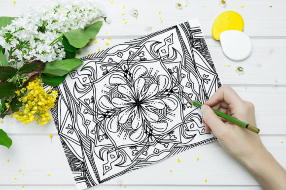 Print on Demand: Coloring Book Complex Geometric Num - 03 Graphic Coloring Pages & Books Adults By stanosh - Image 2