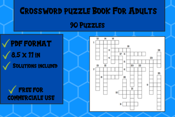 Print on Demand: Crossword Puzzle Book 90 Puzzles Graphic KDP Interiors By Papeterie Bleu