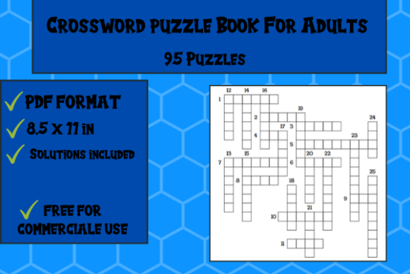 Print on Demand: Crossword Puzzle Book 95 Puzzles Graphic KDP Interiors By Papeterie Bleu