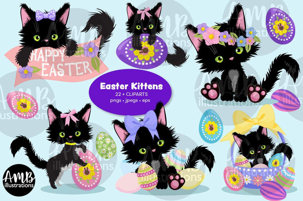 Download Free Easter Cats Clipart 2752 Graphic By Ambillustrations Creative for Cricut Explore, Silhouette and other cutting machines.