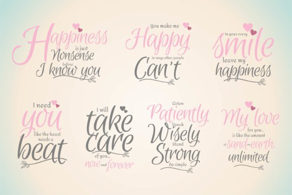 Fall in Love Quotes Bundle Graphic Crafts By edywiyonopp