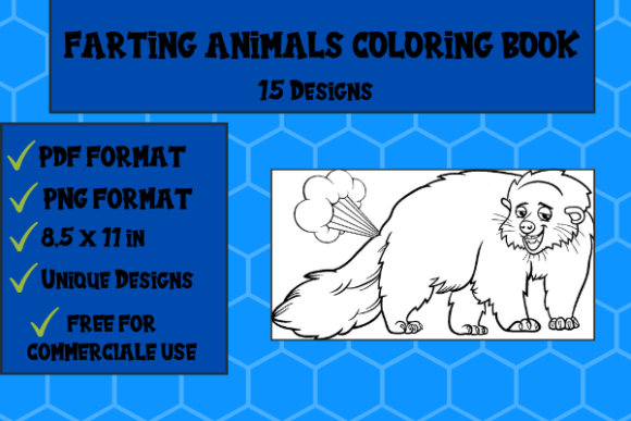 Print on Demand: Farting Animals Coloring Book 15 Designs Graphic KDP Interiors By Papeterie Bleu