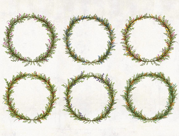 Print on Demand: Floral Wreath Clipart Graphic Illustrations By CaptainCreative