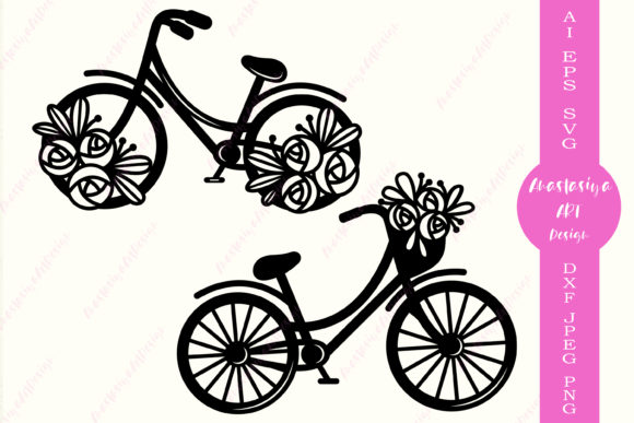 Floral Bicycle Silhouette Graphic Crafts By AnastasiyaArtDesign