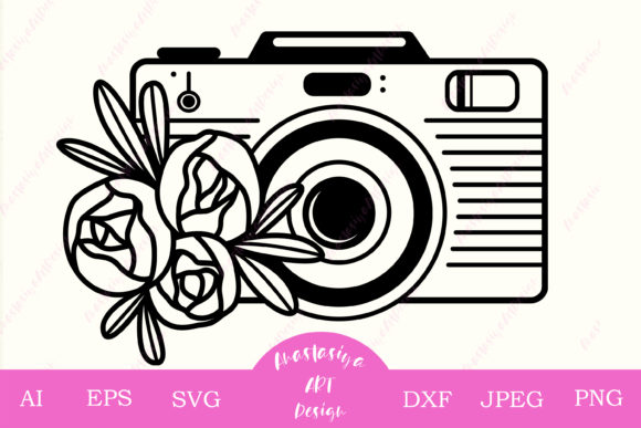 Floral Camera Monogram Graphic Crafts By AnastasiyaArtDesign