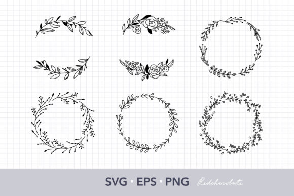 Floral Wreath Clipart Set Graphic Crafts By redchocolate