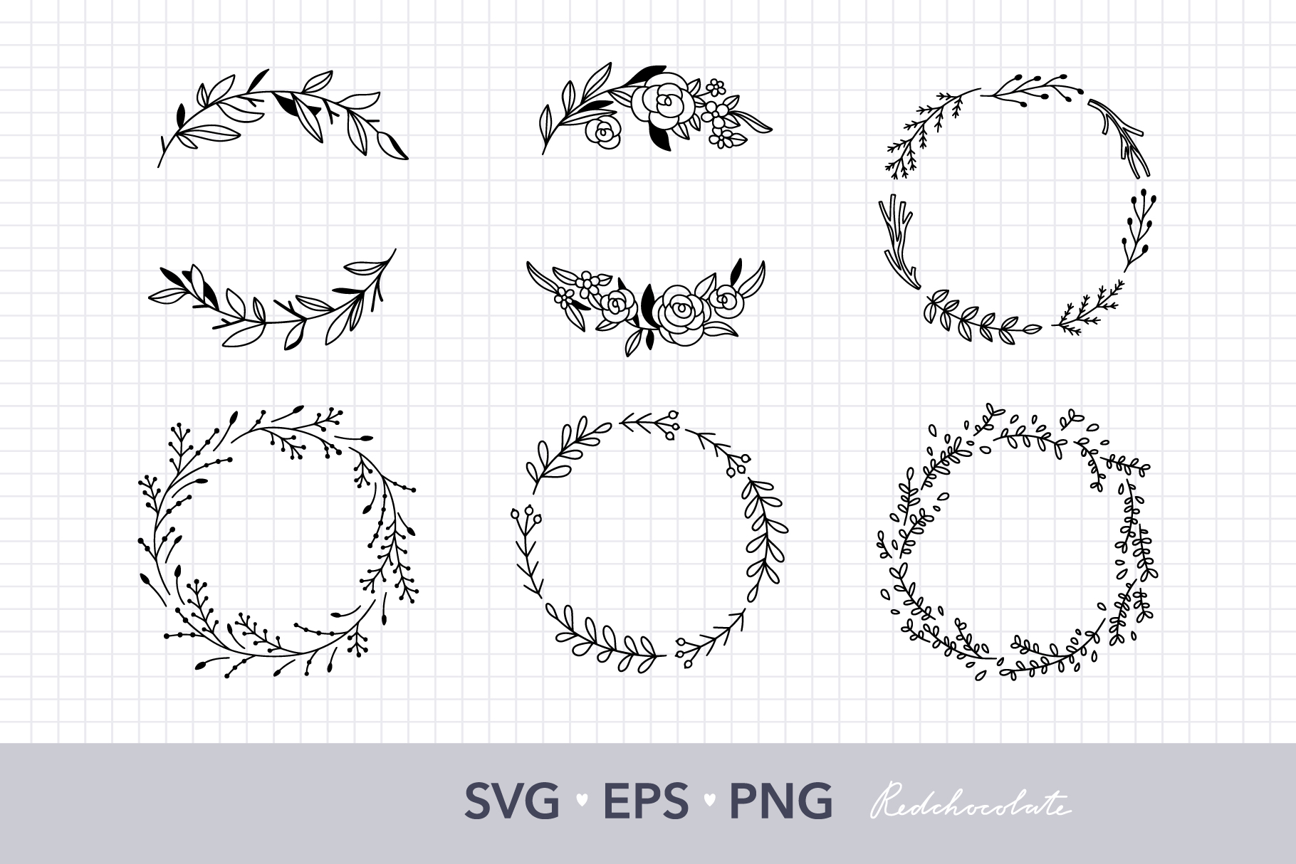 Download Free Floral Wreath Clipart Set Graphic By Redchocolate Creative Fabrica for Cricut Explore, Silhouette and other cutting machines.