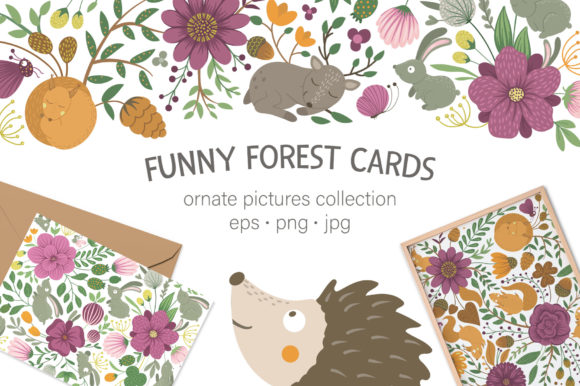 Funny Forest Cards Graphic Illustrations By lexiclaus