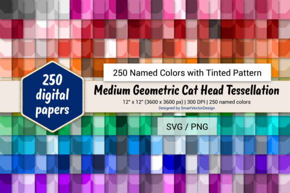 Print on Demand: Geom. Cat Head Paper - 250 Colors Graphic Backgrounds By SmartVectorDesign