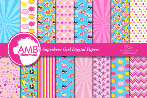 Girl Superhero Papers 2744 Graphic Patterns By AMBillustrations