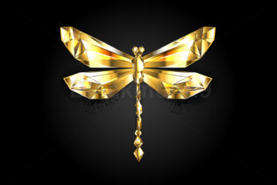 Gold Polygonal Dragonfly Graphic Illustrations By Blackmoon9