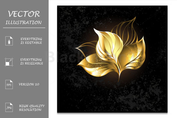 Golden Foliage ( Gold Tea Leaves ) Graphic Illustrations By Blackmoon9