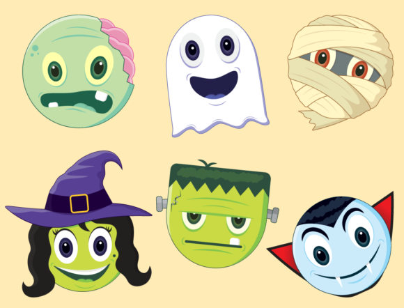 Print on Demand: Halloween Emoji Clipart Graphic Illustrations By CaptainCreative