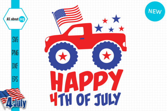 Happy 4th of July Truck Gráfico Crafts Por All About Svg
