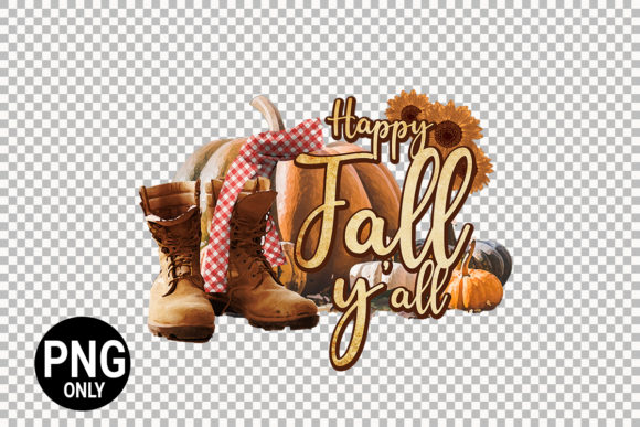 Print on Demand: Happy Fall Y'all Fall Sublimation Graphic Print Templates By 99 Siam Vector