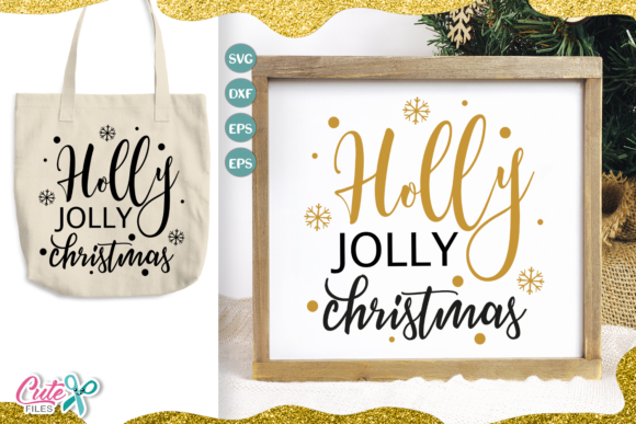 Holly Jolly Christmas Cut File Graphic Illustrations By Cute files
