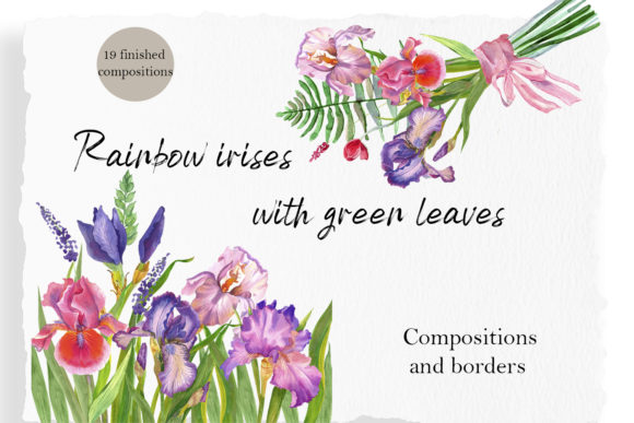 Print on Demand: Iris Watercolor Clipart, Floral Bouquet Graphic Illustrations By ElenaZlataArt