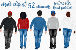 Print on Demand: Male Cliparts - 52 Elements Graphic Illustrations By LeCoqDesign
