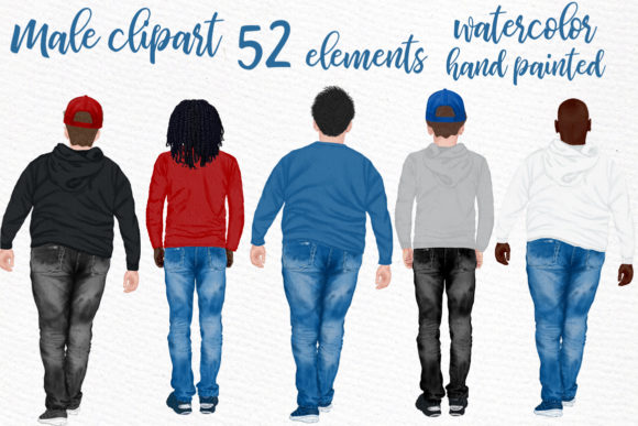 Male Cliparts - 52 Elements Grafik Illustrationen von LeCoqDesign