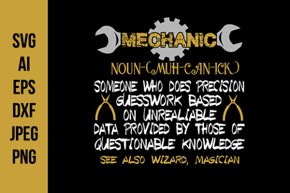 Print on Demand: Mechanic Quotes Good for Print Design Graphic Crafts By Tosca Digital