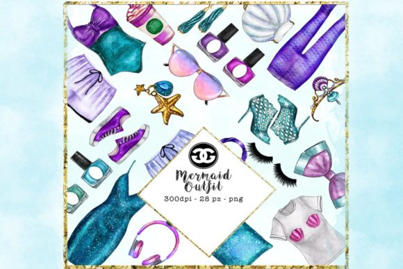 Print on Demand: Mermaid Fashion Clip Art Set Graphic Illustrations By TheGGShop