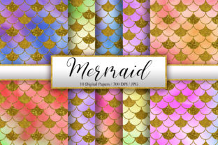 Print on Demand: Mermaid Watercolor Ombre Background Graphic Backgrounds By PinkPearly