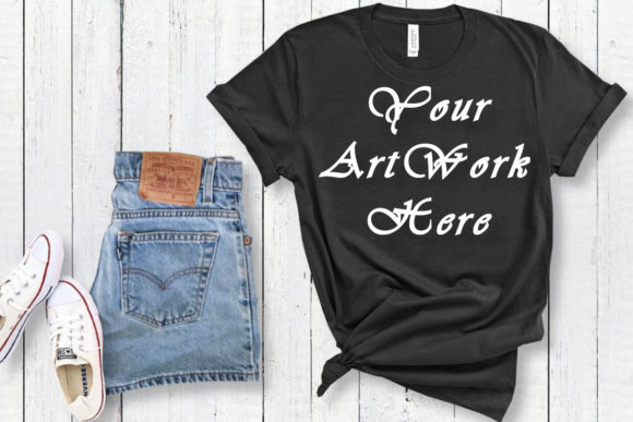 Mockup Bella Canvas 3001 Black T-shirt Graphic Product Mockups By MockupsByGaby
