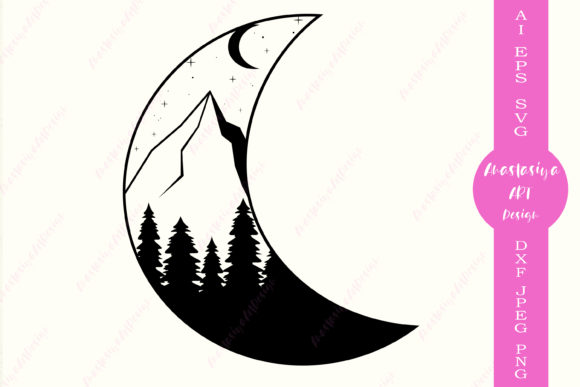 Moon and Mountains  Graphic Crafts By AnastasiyaArtDesign