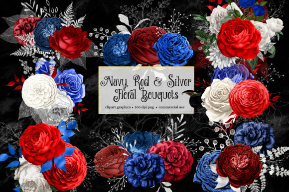 Print on Demand: Navy Red and Silver Floral Bouquets Graphic Illustrations By Digital Curio