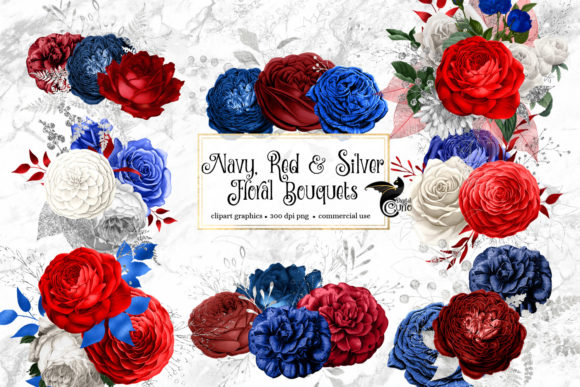 Print on Demand: Navy Red and Silver Floral Bouquets Graphic Illustrations By Digital Curio - Image 2