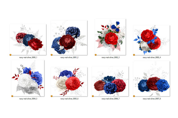 Print on Demand: Navy Red and Silver Floral Bouquets Graphic Illustrations By Digital Curio - Image 3