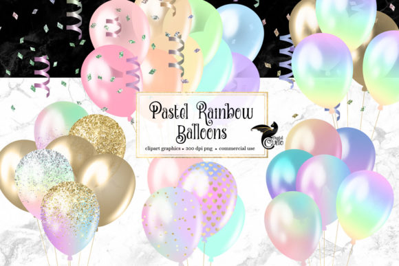 Print on Demand: Pastel Rainbow Balloons Clipart Grafik Illustrationen von Digital Curio