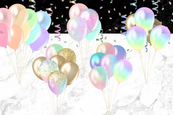Print on Demand: Pastel Rainbow Balloons Clipart Graphic Illustrations By Digital Curio - Image 2