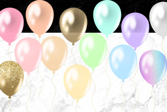 Print on Demand: Pastel Rainbow Balloons Clipart Graphic Illustrations By Digital Curio - Image 3