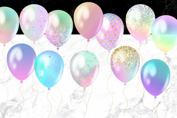 Print on Demand: Pastel Rainbow Balloons Clipart Graphic Illustrations By Digital Curio - Image 4