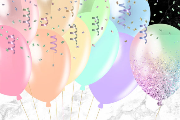Print on Demand: Pastel Rainbow Balloons Clipart Graphic Illustrations By Digital Curio - Image 5