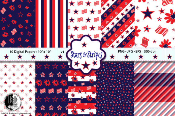 Patriotic Stars & Stripes Vol.1 Digital Graphic Patterns By LIQUEStudio