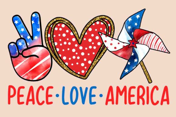 Peace Love America Graphic Crafts By pngbundles