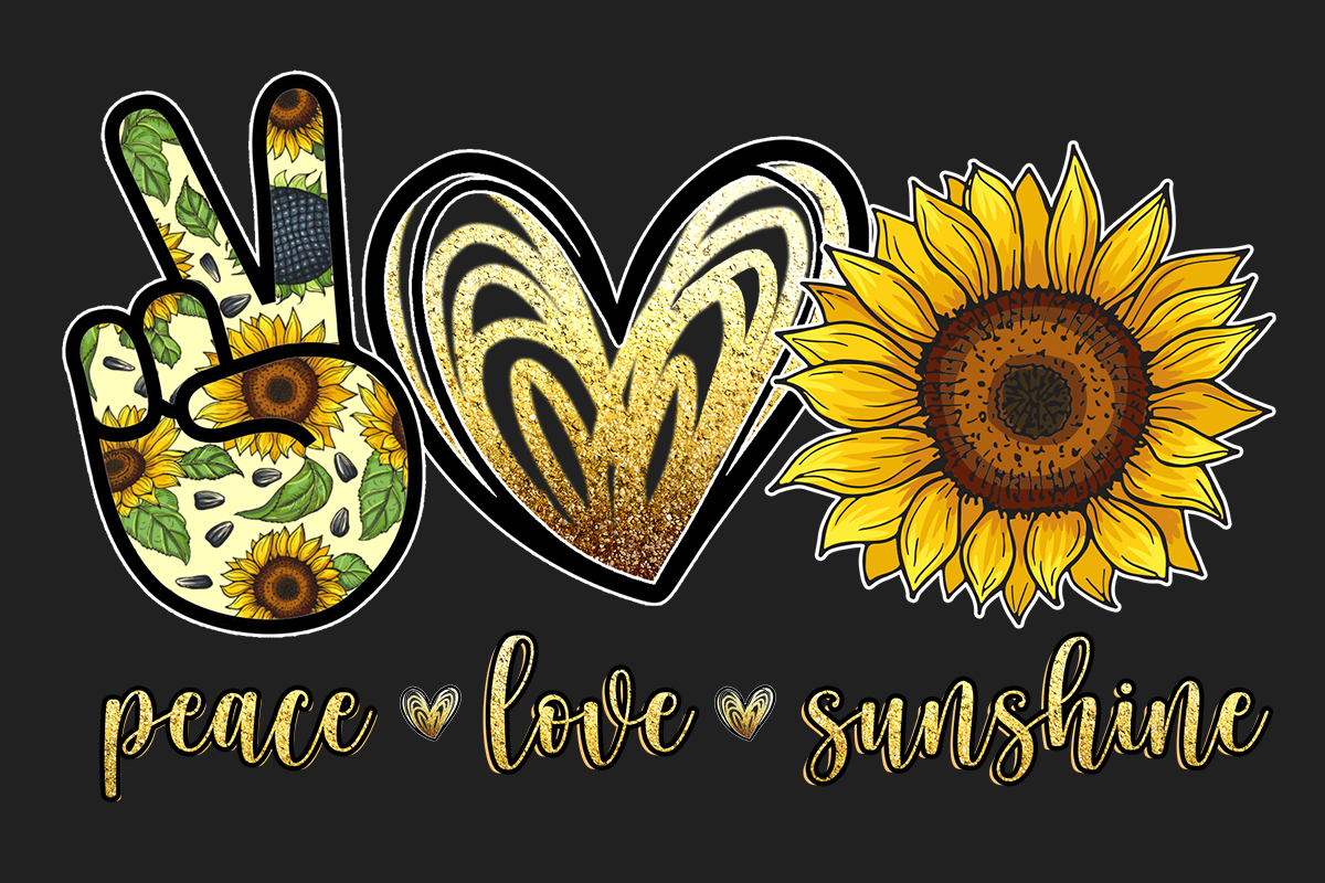 Download Free Peace Love Sunshine Sunflower Graphic By Pngbundles Creative for Cricut Explore, Silhouette and other cutting machines.